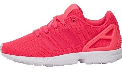 check out f7937 01d40 Adidas Originals ZX Flux K Kids Girls Junior Trainers Pink   White Size  4.5, ...