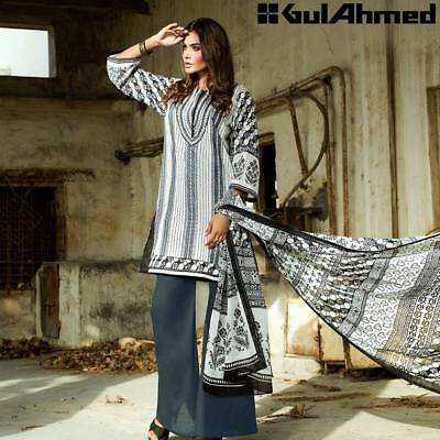3c8bbed523a Gul Ahmed Summer Collection Black and White Unstitched Suit B-4 100%  Original