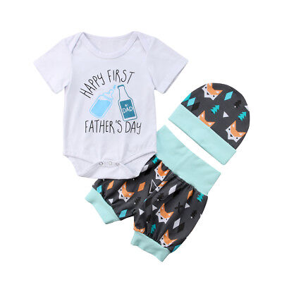 My 1st Father's Day Newborn Baby Girl Boy Outfits Romper Shorts Clothes AU Stock