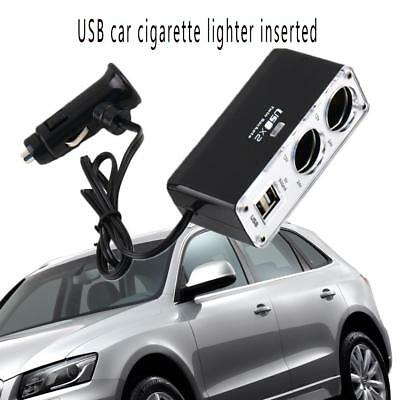 12V 2 Way Car Cigarette Lighter Power Socket Charger Adapter Dual USB Ports Twin