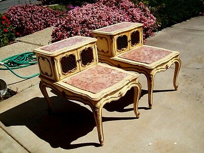 MARBLE END TABLES❤Shabby✿French Provincial Rococo Louis XV✿chic~Photography Prop