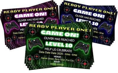 BIRTHDAY PARTY INVITATIONS Gamer Xbox Playstation Green Personalised