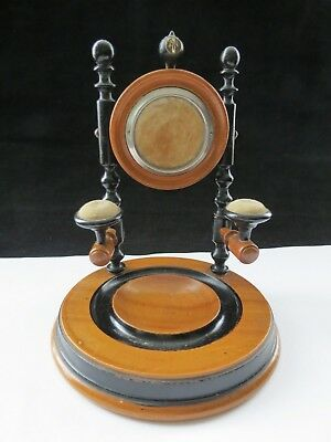 Rare Turned Treen Wooden Pocket Watch Stand Cufflink Dish Tie Pin Cushion