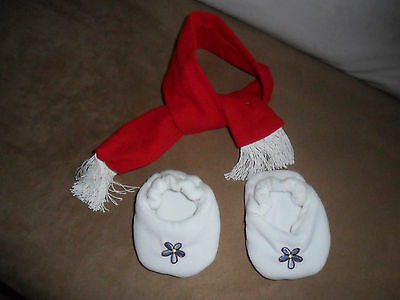 ANIMAL WORKS HANDMADE CHRISTMAS Clothing forTeddy Bear Set Shoe/Scarf 3+ 14-18""