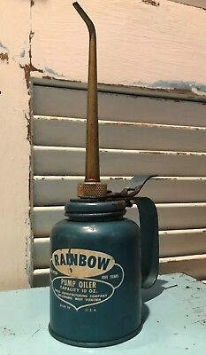 Vintage Eagle Manufacturing Co. Blue RAINBOW Pump Oiler - 10 oz. Capacity - USA