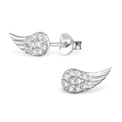 925 Sterling Silver CZ Crystal Wings Angel  11x5mm Stud Earrings & Gift Box #3