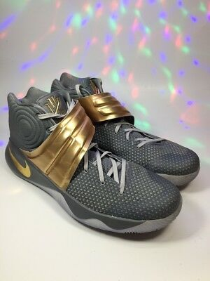 Men's Nike ID Kyrie 2 843253-996 Custom Basketball Shoes Gray Gold Size 15