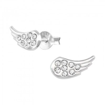 925 Sterling Silver CZ Crystal Wings Angel 5x10mm Stud Earrings & Gift Box #5