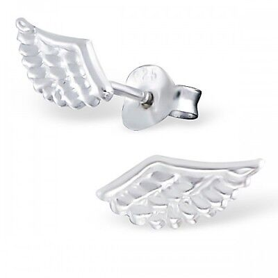 925 Sterling Silver Wings Angel Wing 11x5mm Stud Earrings & Gift Box #7