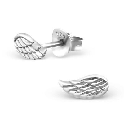 925 Sterling Silver Wings Angel Wing 8x4mm Stud Earrings & Gift Box #8
