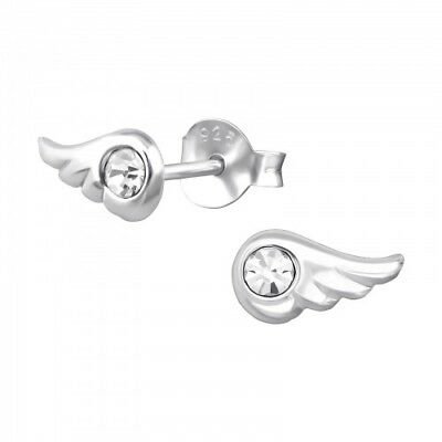 925 Sterling Silver CZ Crystal Wings Angel 9x5mm Stud Earrings & Gift Box #9