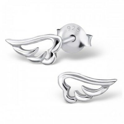 925 Sterling Silver Wings Angel Wing 9x5mm Stud Earrings & Gift Box #10