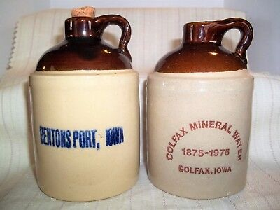 IOWA Souvenir Stoneware Jugs for Colfax Mineral Water &  Bentons Port