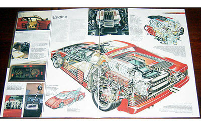 Ferrari Testarossa Fold-out Poster + Cutaway drawing