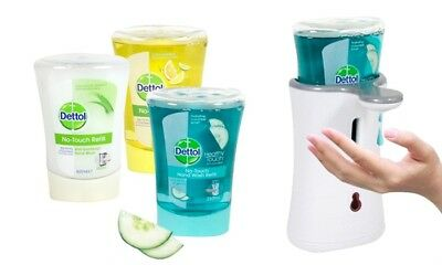 Dettol No Touch Hand Wash System Machine Dispenser Silver Or White & 3 Refills
