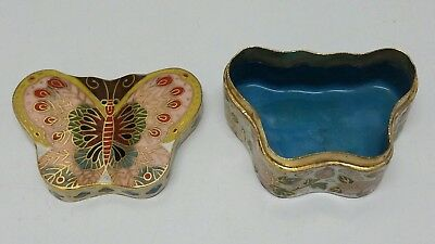 Vintage Chinese Cloisonne Enamel Butterfly Trinket Box Treasure Container