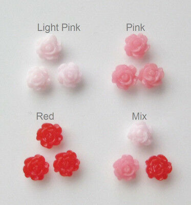 3 pieces Resin Rose Flower Accent Floating Charm for Glass Memory Locket