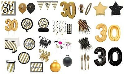 AGE 30 BLACK & GOLD HAPPY BIRTHDAY PARTY DECORATIONS 30th TABLEWARE (cp)