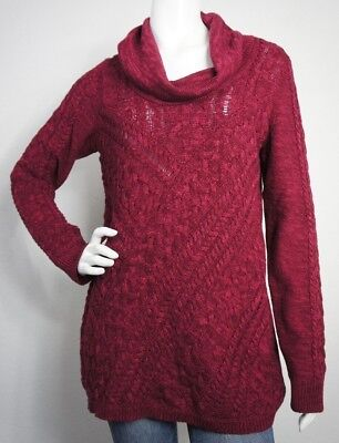$50 Motherhood Maternity Cable Knit Red Cowl Neck Sweater Size Large  *NEW*