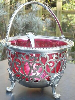 Antique Sugar Bowl with Cranberry Glass Liner & Sifting Ladle Silver Plated a/f