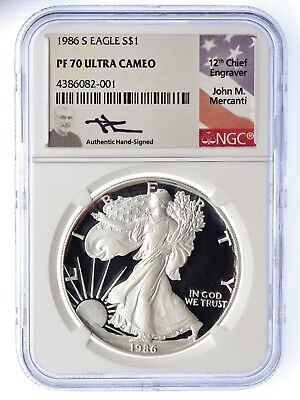 1986-S $1 Proof Silver Eagle PF70 NGC JOHN MERCANTI SIGNED LOW POPULATION!