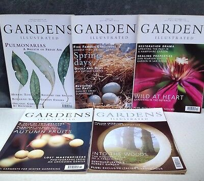 Gardens Illustrated magazine 5 second hand copies from 1998