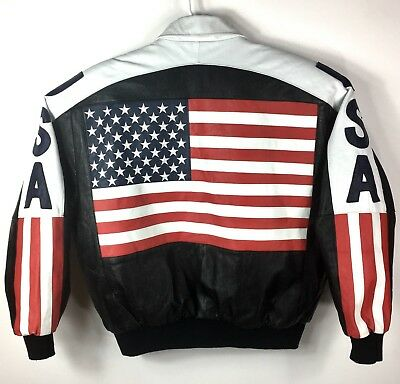 b088ba1acfbe Vintage Michael Hoban Wheremi USA American Flag Bomber Leather Jacket Adult  XL