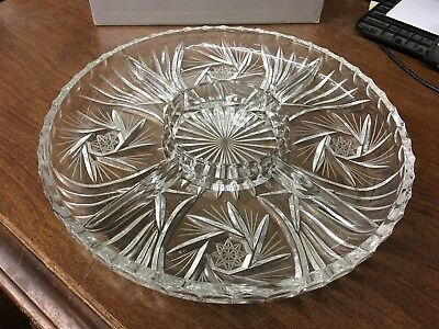 "Beautiful 11-1/2"" Round Cut Glass Divided Serving Dish/Tray Pin Wheels"
