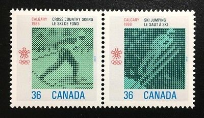 Canada #1152-1153a MNH, 1988 Olympic Winter Games Pair of Stamps 1987