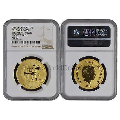 Niue 2017 Disney Characters Steamboat Willie Mickey Mouse $250 1oz Gold NGC MS67