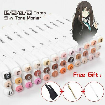 24/30/36Colors Set Dual Tip Twin Marker Pen Set Artist Drawing With Glove Gifts