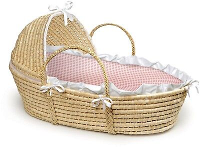 Traditional Moses Baby Basket Hood Comfy Padded Sturdy Cute Baby Carrier Sleeper