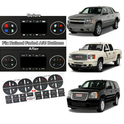 2Set AC Heater Button Repair Kit Dash Decal Stickers For 2007-2013 GM Vehicles