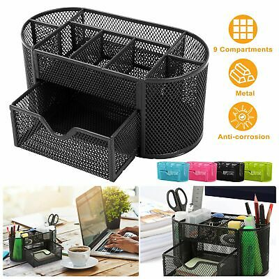 Desk Organizer Pen Pencil Holder Storage Tray Desktop Office Metal Mesh Black