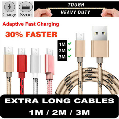 3/6/10FT Braided Micro USB Charger Data Cable Heavy Duty Fast Charging Lead Cord