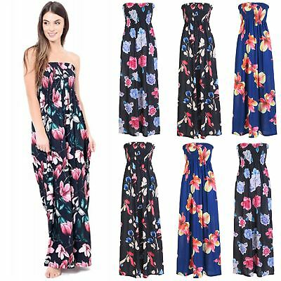 Ladies Womens Floral Rose Strapless Sheering Ruched Boobtube Bandeau Maxi Dress