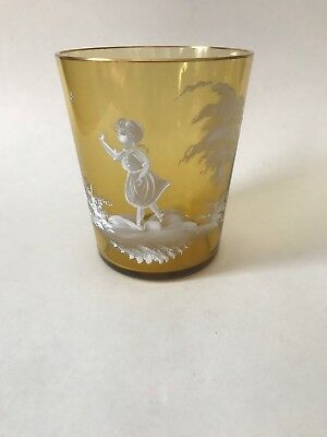 Mary Gregory Cognac Glass Vase With Walking Girl~ 5 1/4""