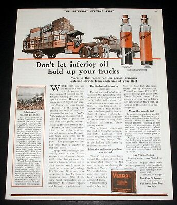 1919 Old Magazine Print Ad, Tide Water, Veedol Oil, The Sediment Problem Solved!