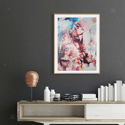 Canvas Oil Painting Wall Art Picture Hanging Poster Home Decor Girl & Wolf