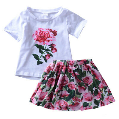 Toddler Kids Baby Girls Summer Outfit Clothes T-shirt Tops+Floral Skirt 2PCS Set