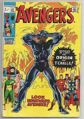The Avengers #87 - Origin of T'Challa, The Black Panther! Key comic 4.5-5.5