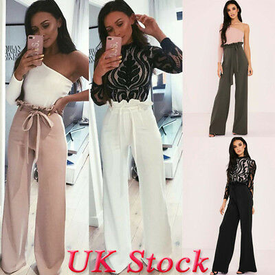 UK Womens High Waist Paperbag Trousers Ladies Striped Cigaratte Pants Size 6-14