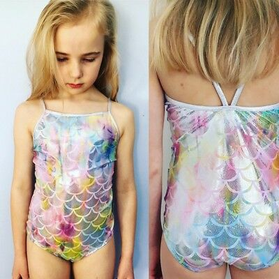Mermaid Toddler Kids Baby Girl Tutu Swimsuit Swimwear Bathing Suit Tankini Set