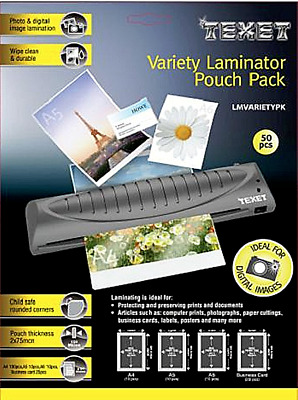 Texet Variety Pack A4 A5 A6 Business Cards Laminating Pouches 50 pieces 150 MCN