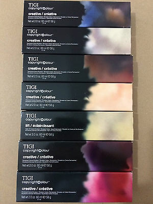 5 x TIGI copyright colour creative Permanent Creme Hair colour 60ml