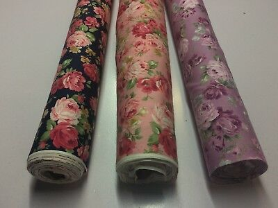 Floral Print Cotton Poplin Fabric : Price Per 1/2 Mtr: #10751