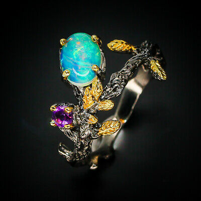 Hot Promotion! Natural 8x6 Opal 925 Sterling Silver Ring / RVS19