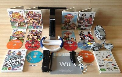 OFFICIAL NINTENDO Wii BLACK CONSOLE (RVL-101) FAMILY BUNDLE WITH 6 GAMES & WHEEL