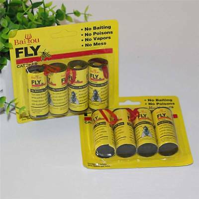 4 pcs Insect Bug Fly Glue Paper Catcher Trap Ribbon Tape Strip Sticky Flies Roll