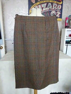 Vintage retro Ladies Skirt M & S St Micheal Tweed Brown Check pencil size 12